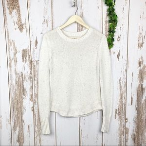 BASS Essential White Speckled Crewneck Sweater